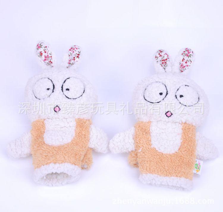 卡哇伊大眼兔保暖毛绒手套 冬季加厚保暖半手指手套情人节礼物
