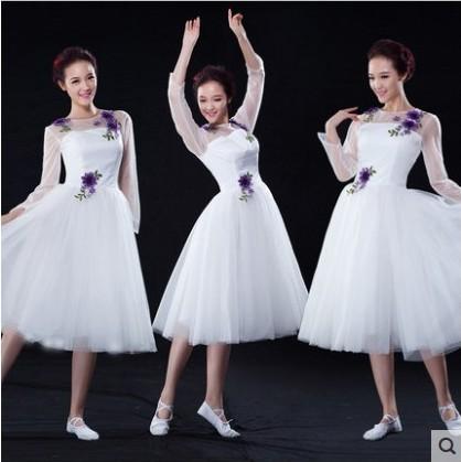 民族舞台表演服成人大合唱演出服 伴舞长短纱裙女款现代舞蹈服装