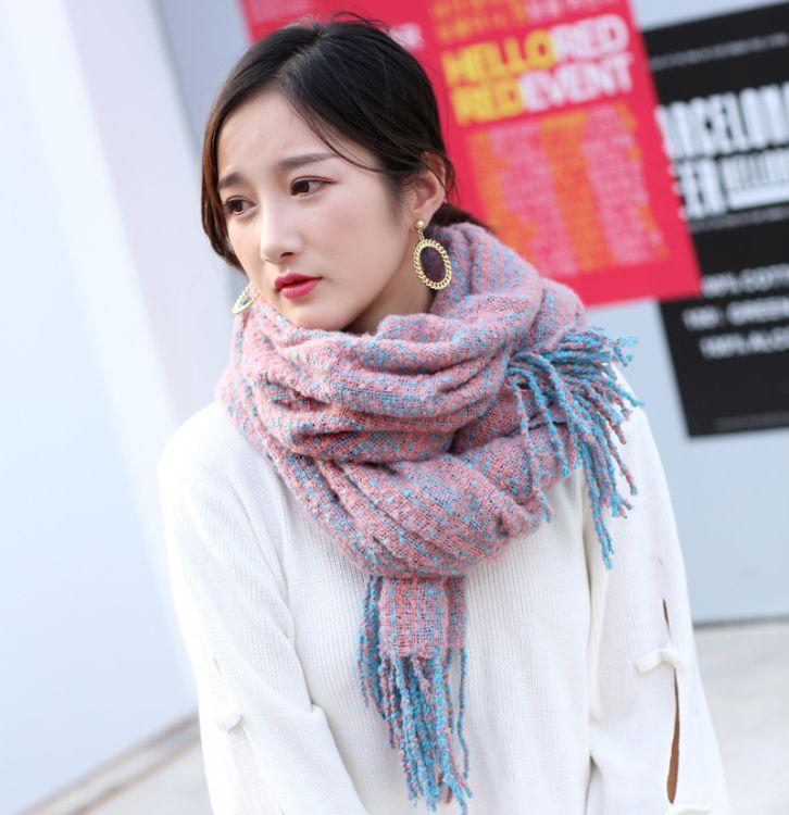 新款韓版純色披肩 圈圈紗女秋冬季加厚圍脖保暖學生超大圍巾批發