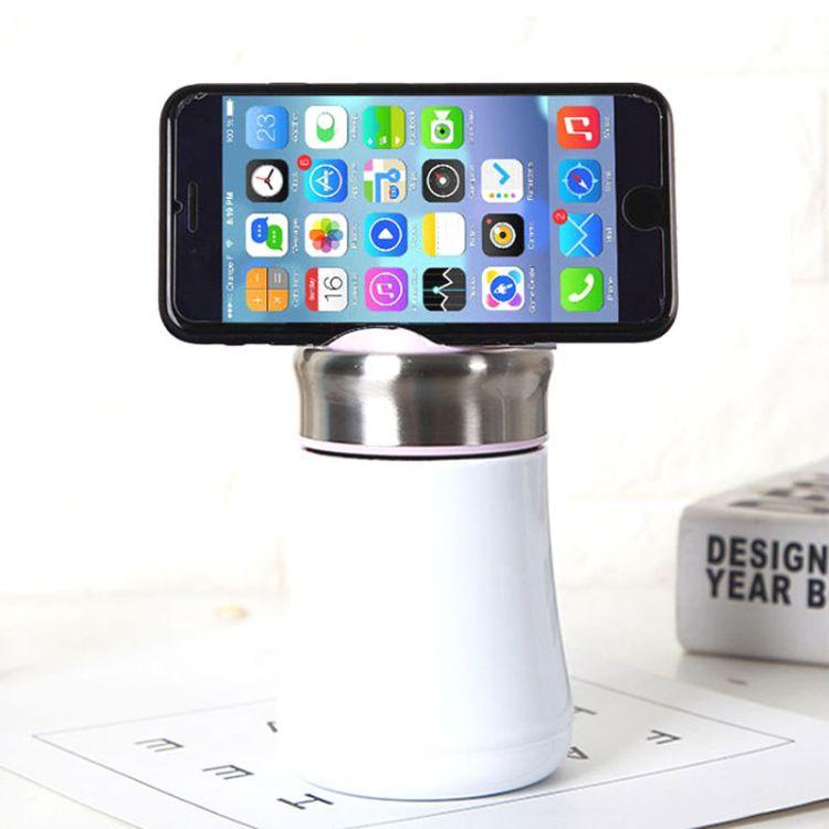 泽宇手机水杯 女士学生可爱便携 304不锈钢杯子批发 手机支架保温杯