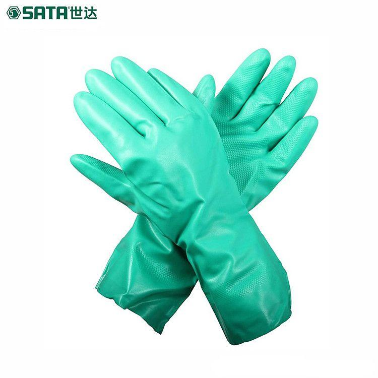 热卖世达SF0402丁腈植绒里防化手套