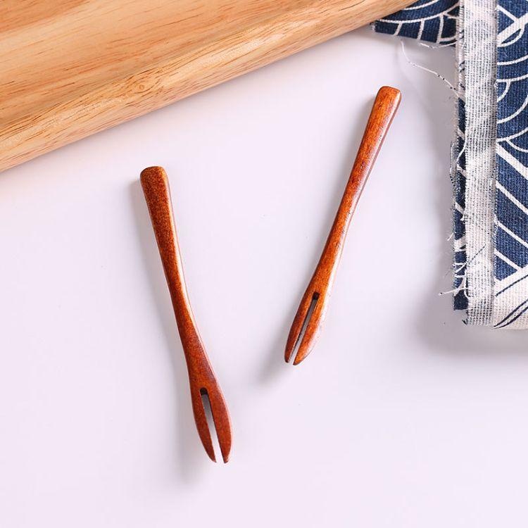 创意宽厚柄木叉 两齿牙签水果叉 点心蚂蚁叉子 木质水果叉