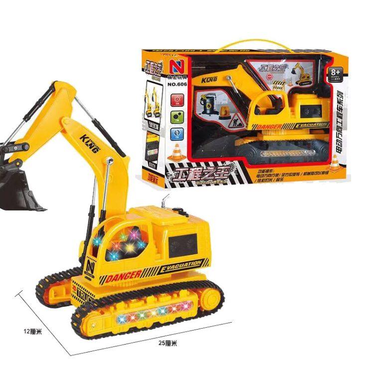 电动万向履带挖掘机工程车炫彩灯光音乐履带可动推土机
