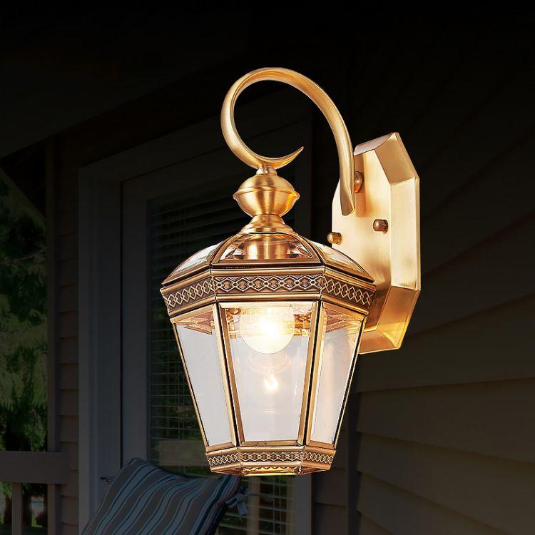 欧式壁灯户外墙灯防锈全铜灯具咖啡厅灯酒店走廊灯别墅过道阳台灯