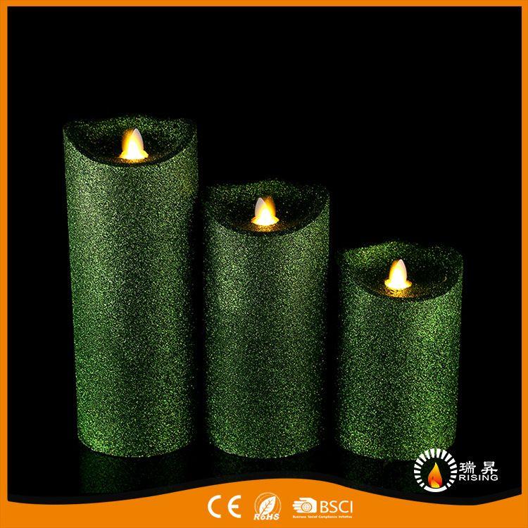 帝王绿LED摇摆蜡烛纯手工制作蜡烛跨境直销婚庆求婚造型灯小夜灯
