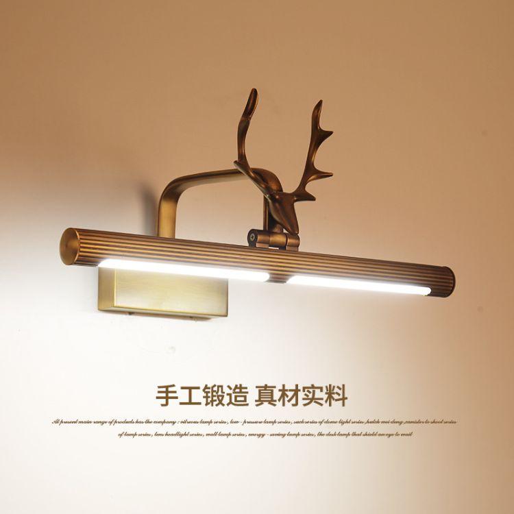 全铜鹿头美式镜前灯卫生间防水鹿角壁灯浴室洗手间镜柜灯化妆灯具