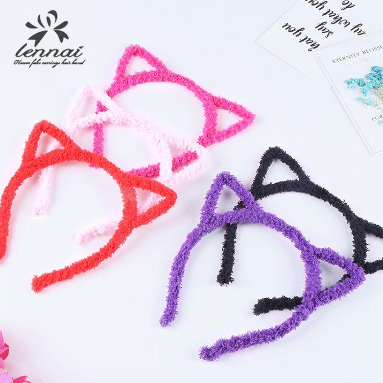 創意新款可愛貓耳朵發箍絨布頭箍兒童賣萌神器發飾頭飾廠家批發