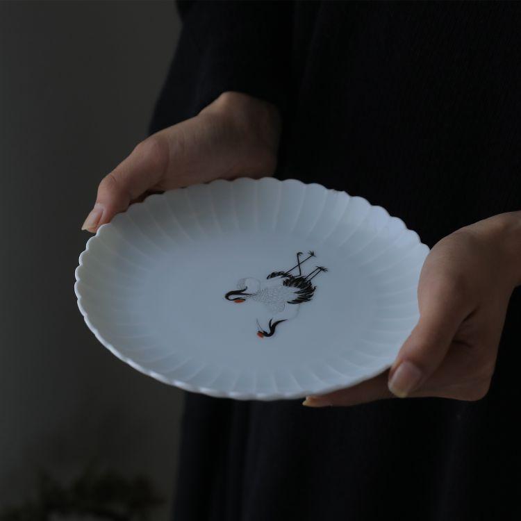 颂家 景德镇手工陶瓷 菊瓣手绘仙鹤壶承 手工雕刻茶盘 点心盘代发