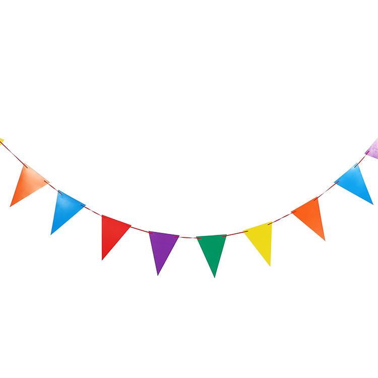 儿童生日派对装饰 生日三角彩旗串旗 成人聚会挂旗 纸拉旗横幅