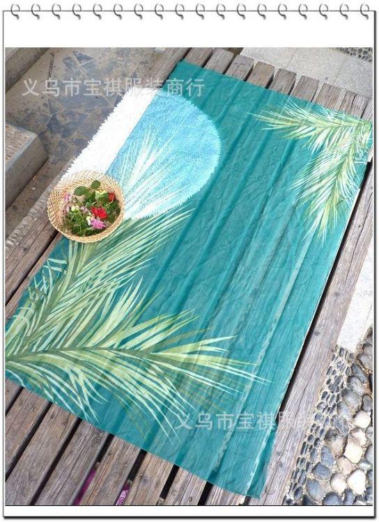 雪纺孔雀树海滩披纱 海边度假印花纱笼披纱 热销特价批发