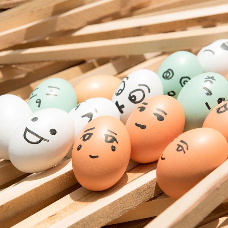实木木制仿真鸡蛋彩绘蛋儿童过家家玩具DIY创意画画幼儿园教具