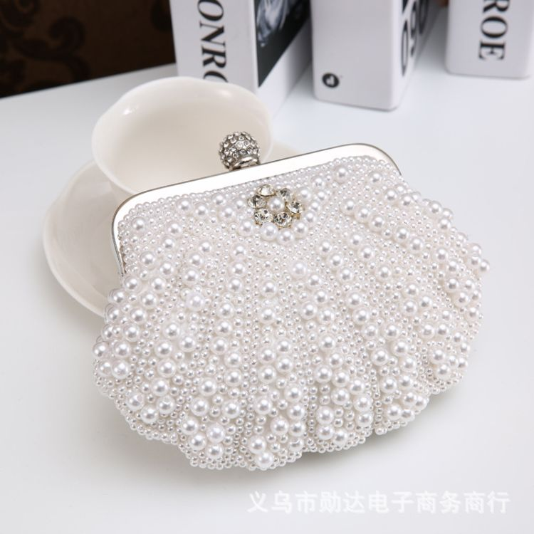 时尚贝壳珍珠女士手拿包珍珠带钻晚宴包 (加大款,带手挽)