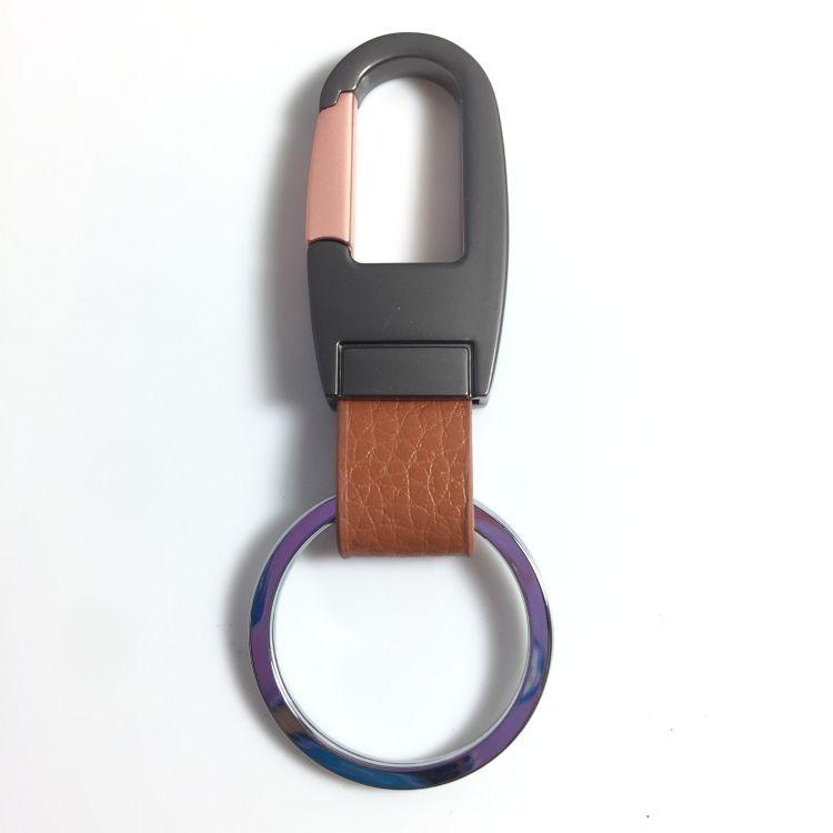 杰锐锋 工厂直销真皮锌合金钥匙扣 双色电镀 汽车钥匙扣 定制LOGO