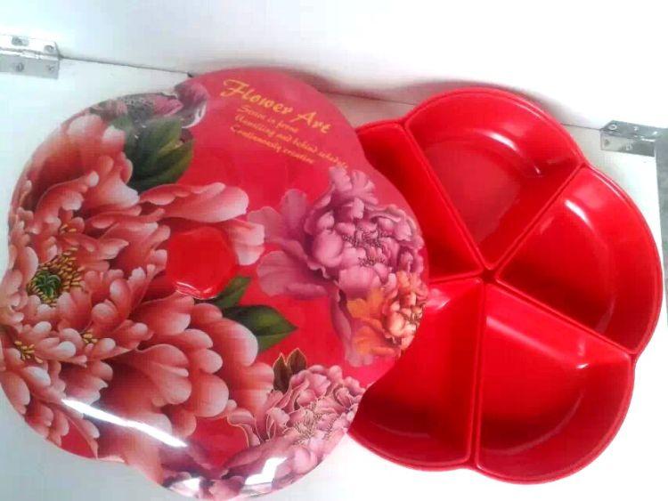 新年密胺仿瓷婚庆用品结婚彩色干果分格零食礼品赠品喜糖糖果盒