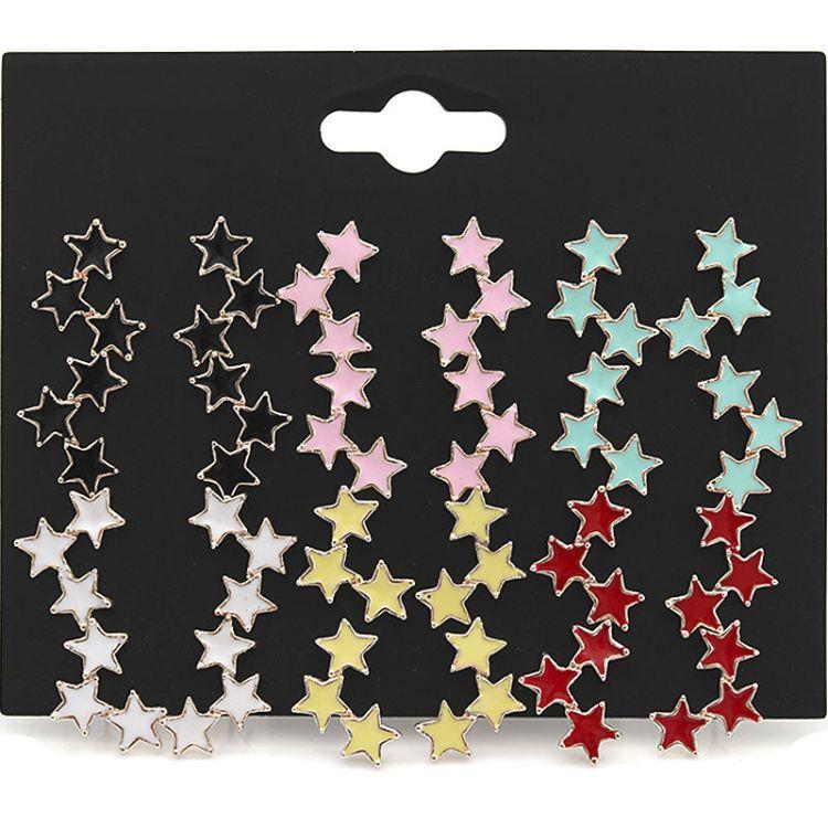 韩版跨境滴油星星套装耳钉女金色合金五角星耳饰耳环  厂家直销