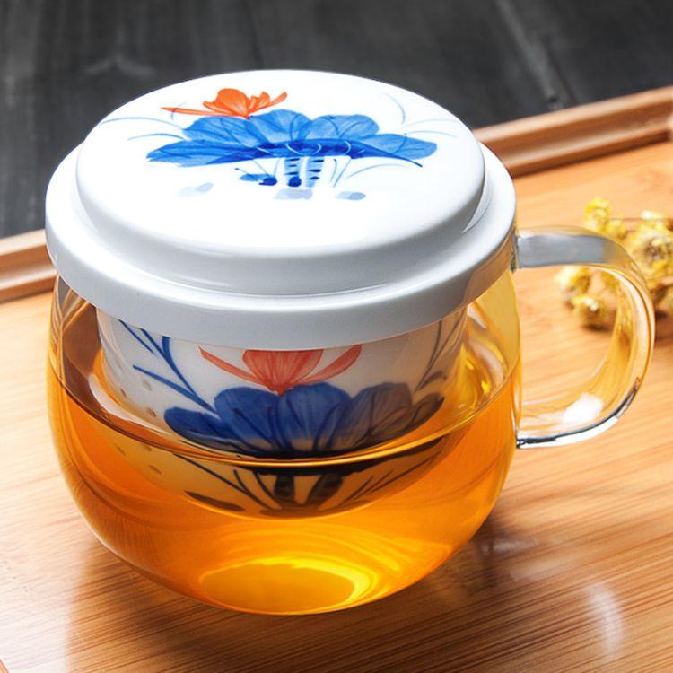 创意陶瓷内胆过滤三件杯玻璃杯礼品花茶杯批发定制印logo一件代发