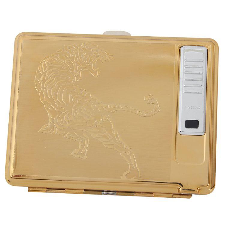 顶好充电烟盒DH882SD金属20支装USB充电点烟器打火机烟盒厂家直销
