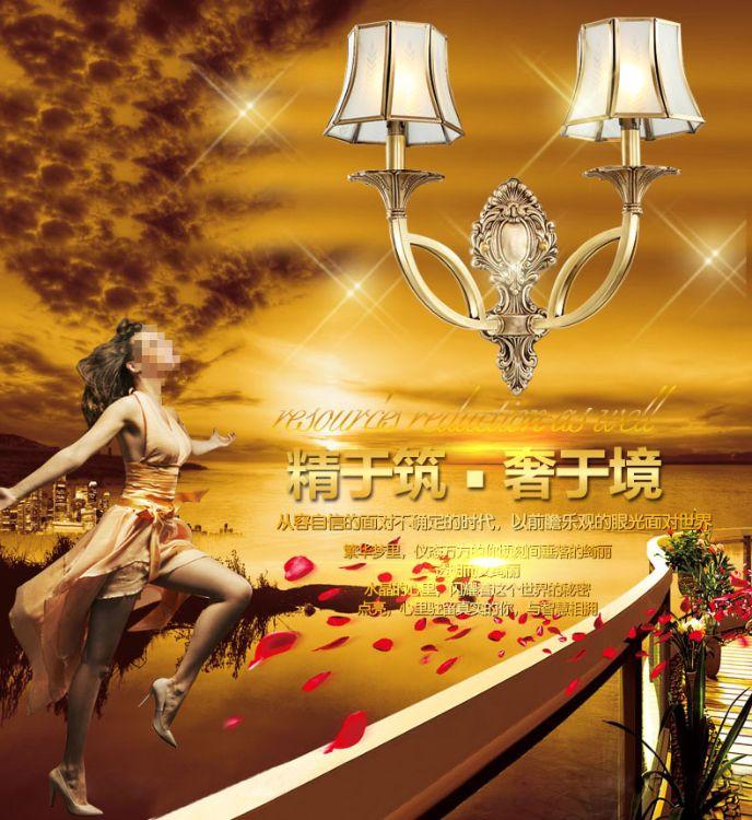 新款全铜壁灯美式吊灯大气简欧美式灯客厅吊灯卧室餐厅灯具
