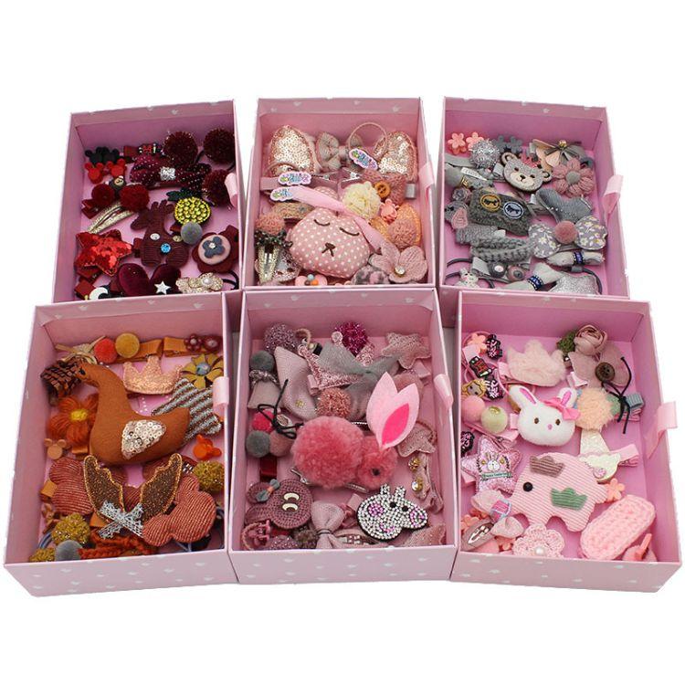遇見工廠直銷24件套兒童發飾套裝禮盒發夾韓國小女孩公主寶寶頭飾