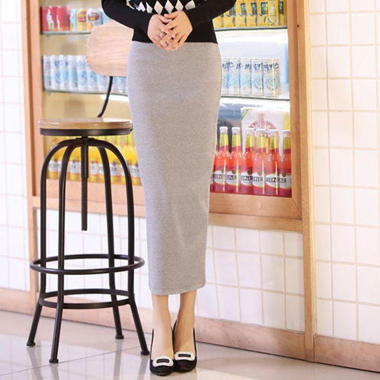 厂家直销 2017春夏 韩版外贸女装新款螺纹棉侧开叉净版半身裙女