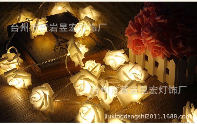 LED电池灯玫瑰花20灯 情人节玫瑰花装饰灯 仿真花装饰灯
