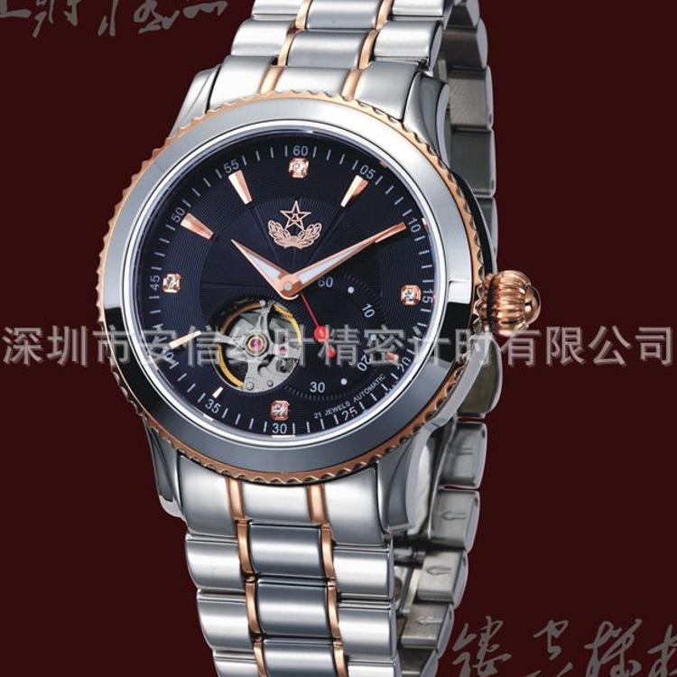 伯恩军表 定制不锈钢镶嵌钨钢表壳表带镂空机械螺丝表霸手表厂