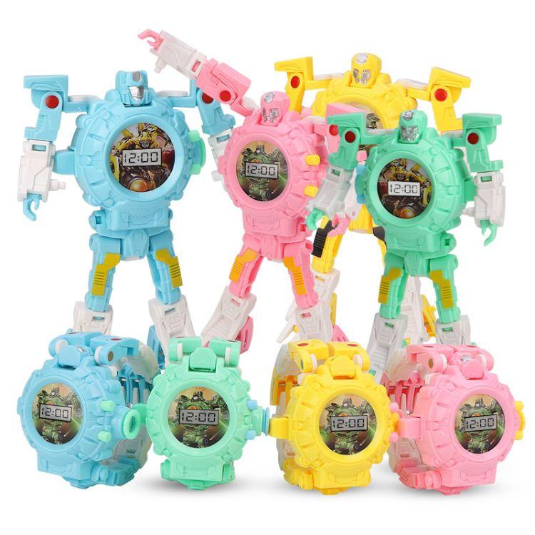 大得卡通变形机器人电子手表 金刚男孩多功能儿童投影手表玩具
