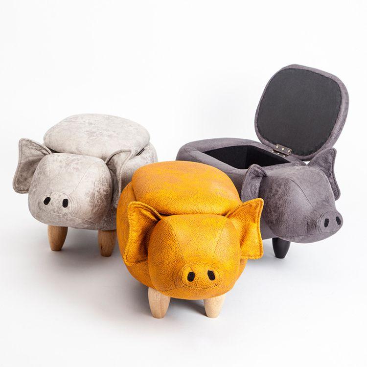厂家直销换鞋凳创意小猪儿童换鞋凳 试鞋凳穿鞋凳皮凳子定制