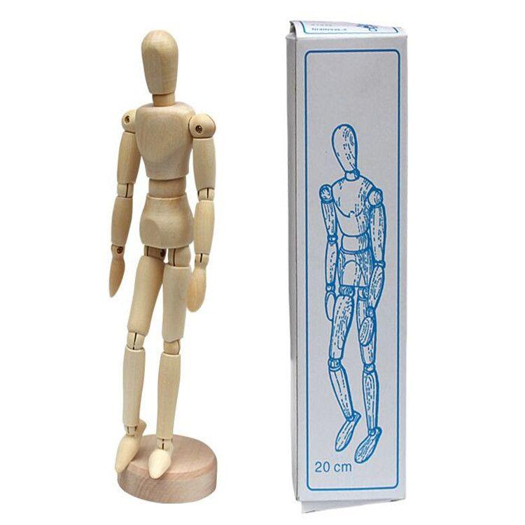 8寸木头人玩具美术素描人偶静物关节人模型家居摆件装饰厂家直销