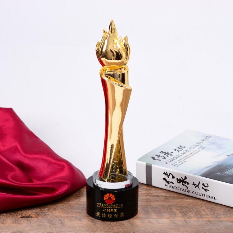 新款火炬金属水晶奖杯定制高档个性创意奖杯企业集体团队免费刻字