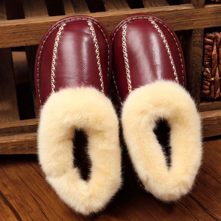 批发牛皮全包跟棉拖鞋女居家室内厚底防滑冬天家用毛毛保暖月子鞋