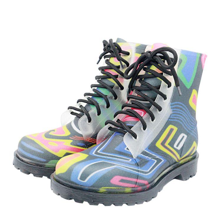 韩国坡跟雨鞋女士时尚雨靴防滑耐磨登山水靴圆头中筒胶鞋