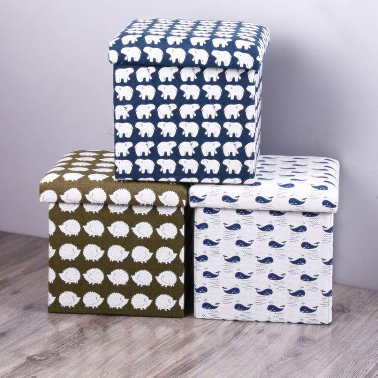 新款印花北极熊棉麻收纳凳 跨境款储物凳 可折叠实用方形换鞋凳