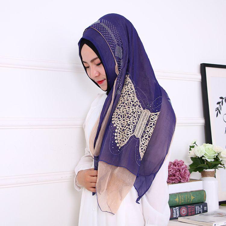 穆斯林头巾 双层蝴蝶绣花烫钻款长巾 回族女纱巾盖头 批发