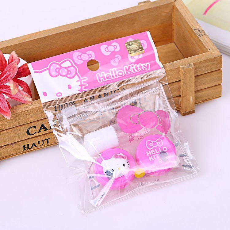 韩版卡通塑料女生美瞳隐形眼镜盒便携双联盒 隐形眼镜盒 厂家直销