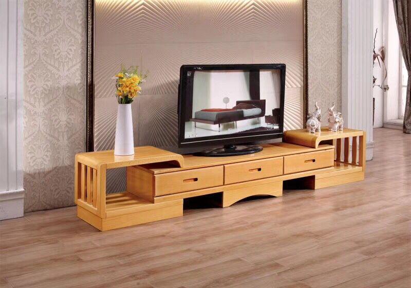 厂家直销榉木电视柜伸缩多功能视听柜圆角矮柜原木伸拉放电视柜