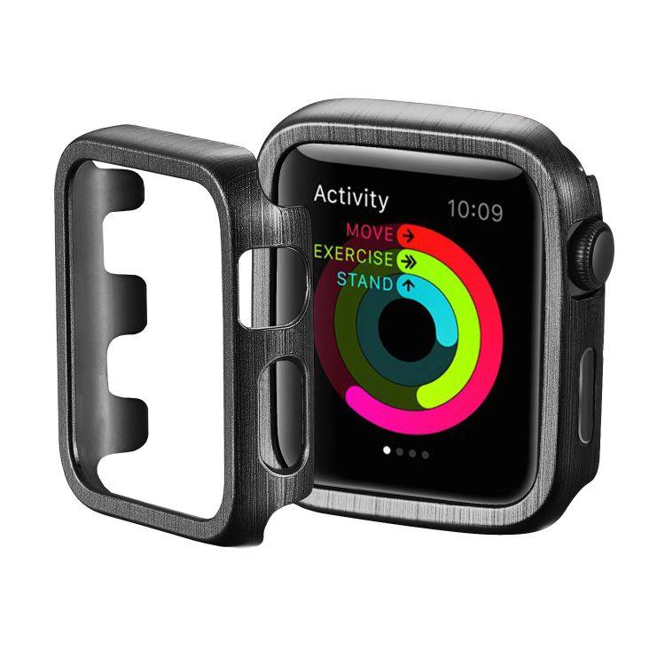 适用apple watch拉丝纹表壳iWatch半包保护套苹果手表38 44保护壳