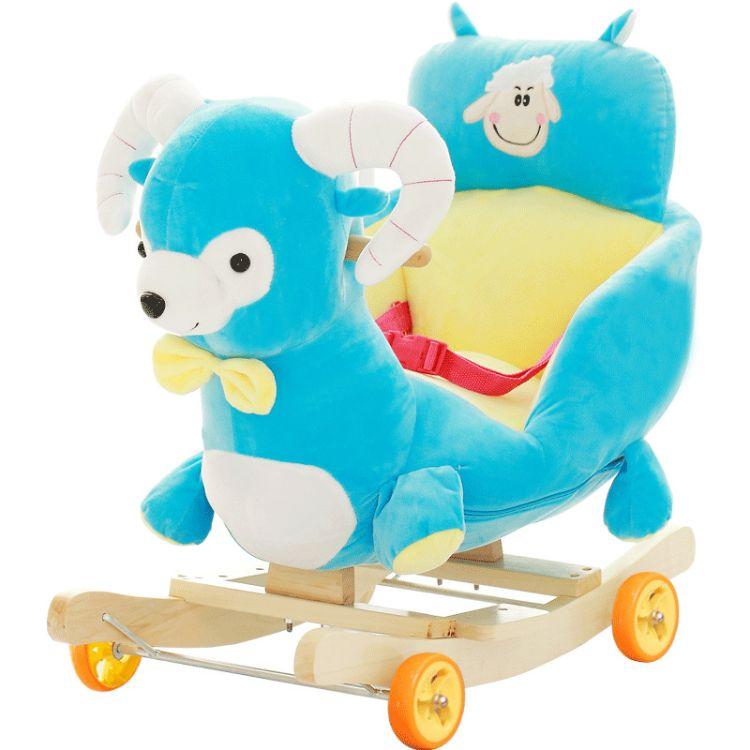 儿童早教实木音乐摇马 宝宝摇椅童车婴儿玩具毛绒公仔