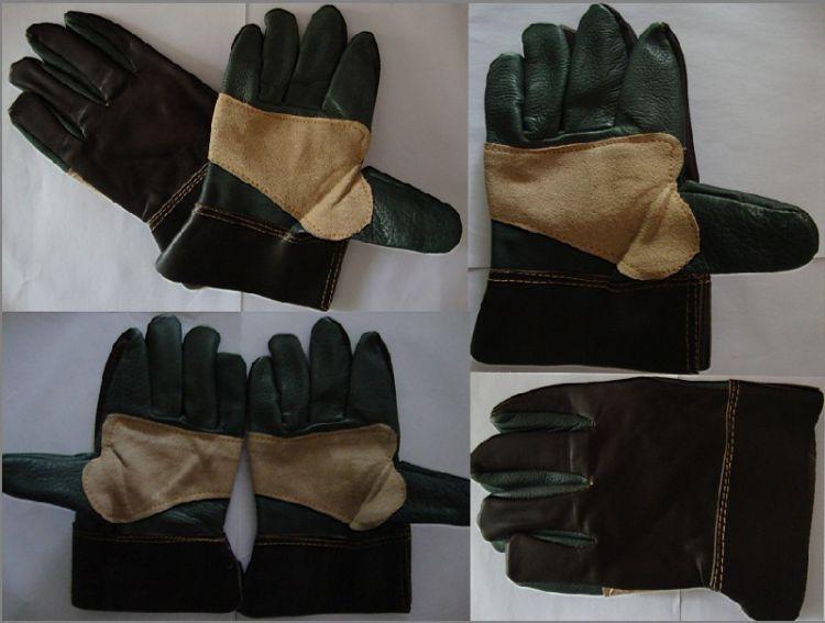 厂家供应牛皮制焊工手套 劳保手套 家私皮加托耐高温工业手套