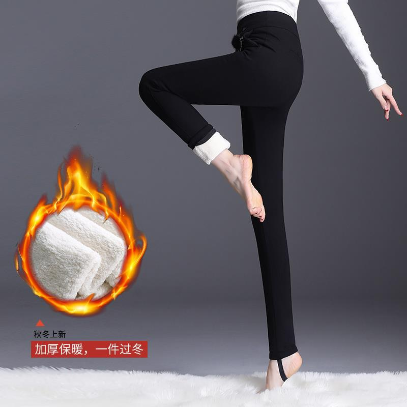 品牌折扣女装冬季加绒小脚裤女2019高腰显瘦保暖裤大码外穿打底裤加厚铅笔裤子