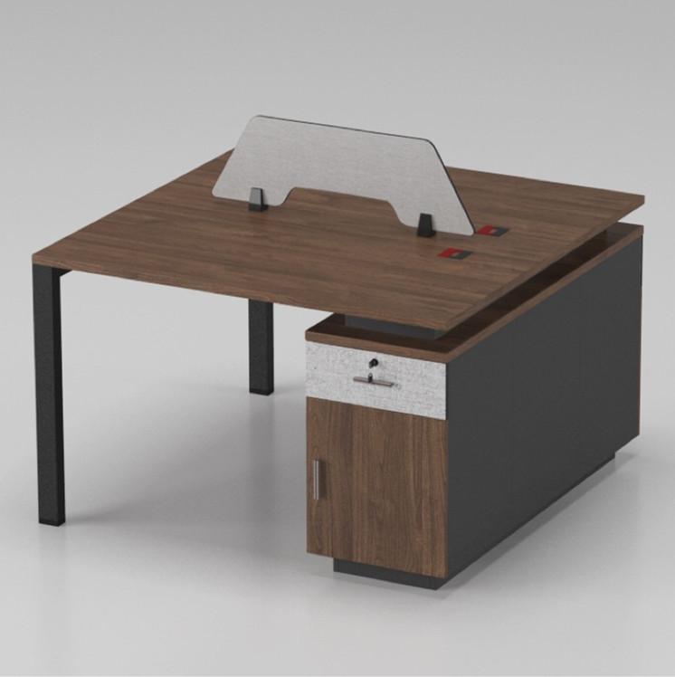 现代简约胡桃木办公桌屏风卡位四人位单人位两人位办公家具