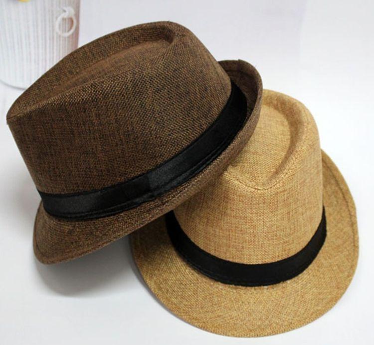 韩版 批发麻料通用英伦绅士短檐舞台表演帽小礼帽子男女 爵士帽