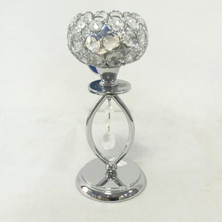 创意单头欧式水晶烛台酒店装饰用品浪漫烛光晚餐摆件婚庆道具烛杯
