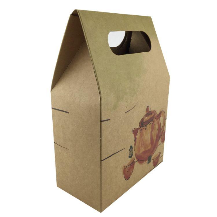 开窗手提调味品黄牛皮纸袋 茶叶袋 坚果包装袋定制
