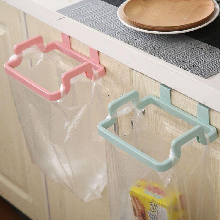 简约不规则厨房门背式手提垃圾袋支架 家用门后抹布挂架
