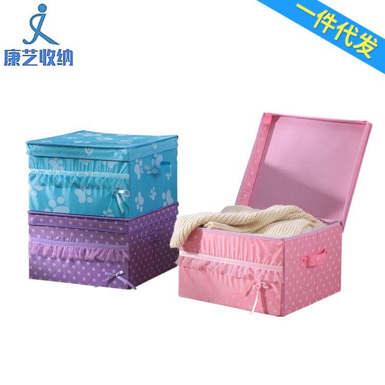 厂家批发牛津布礼品收纳箱现货折叠杂物收纳盒布艺衣物整理箱