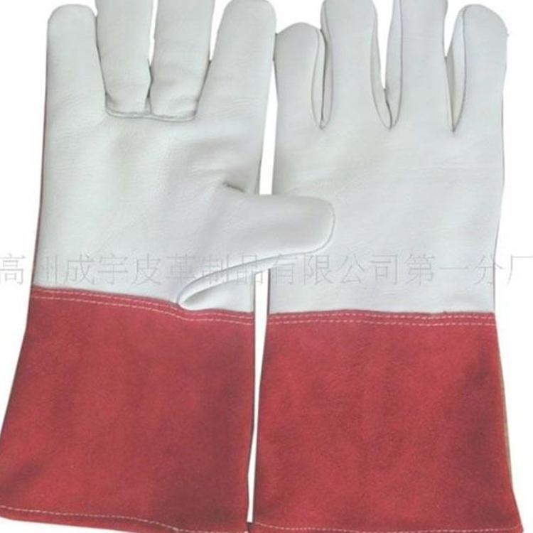 现货批发耐高温红色牛二层手颈拼接本白色牛头层电焊手套