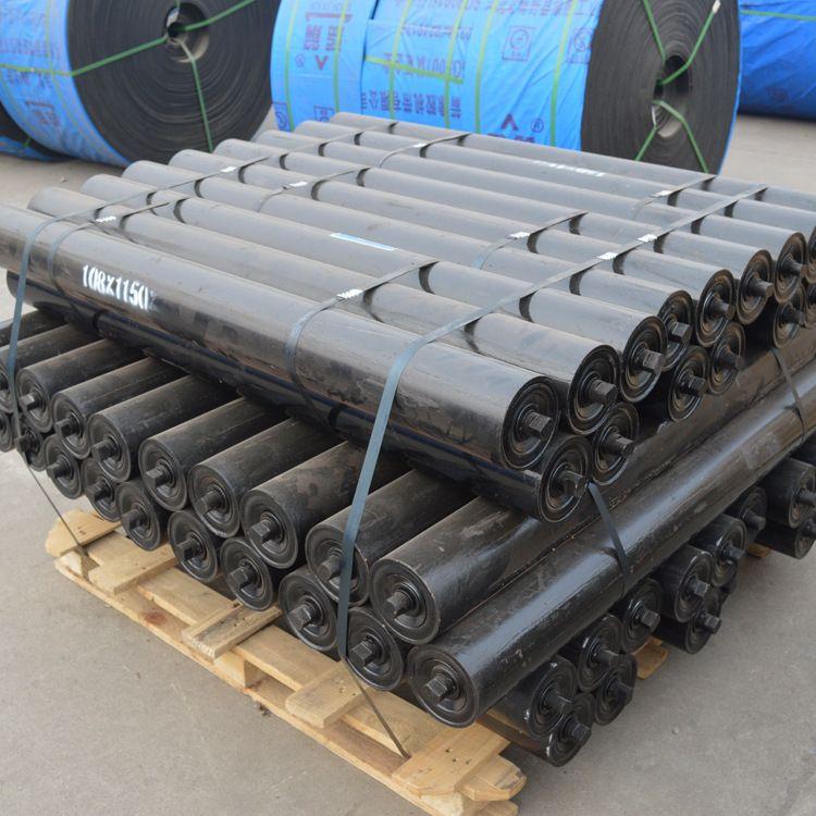 输送带橡胶托辊加工 矿用三联槽型托辊 缓冲托辊 橡胶棍子寿命长