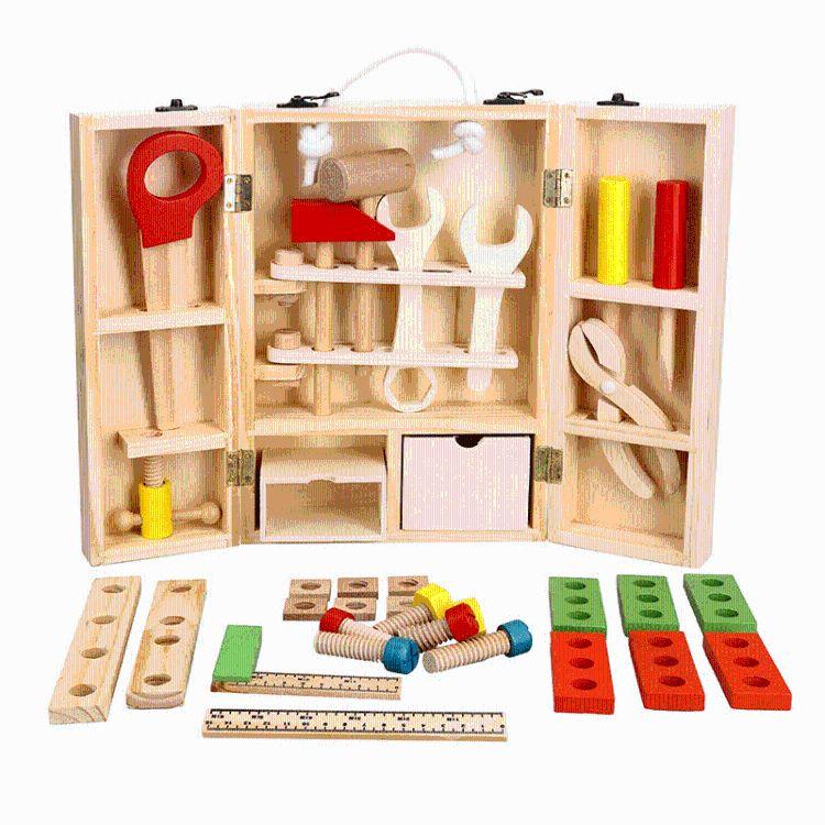 木制仿真DIY手提儿童工具箱 维修工具套装 益智过家家玩具