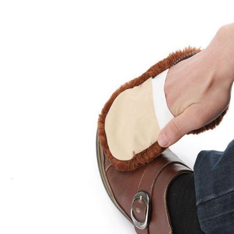 多功能擦鞋手套 便携式仿羊毛 抛光上光除尘鞋擦 擦鞋用品小工具